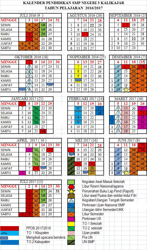 kalender akademik SMP Negeri 3 Kalikajar