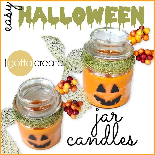Simply adorable! DIY Jack-o-Lantern jar candles for Fall. #pumpkins #halloween #candles | Tutorial at I Gotta Create!