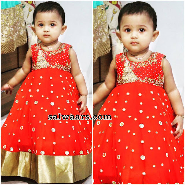 Baby in Red Mirror Frock