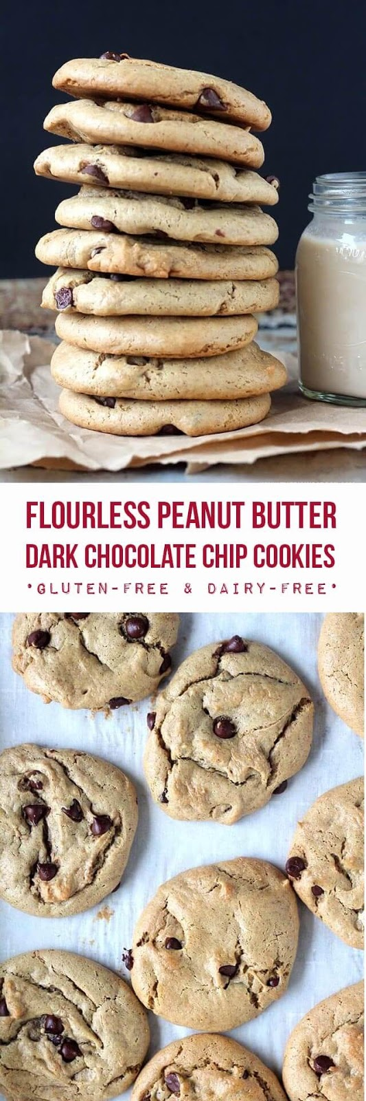 Easy flourless peanut butter cookies studded with dark chocolate chips and sweetened with maple syrup. These cookies are incredibly soft, full of rich peanut butter flavor, and they develop a wonderful chewiness the day after baking them. {gluten-free & dairy-free}