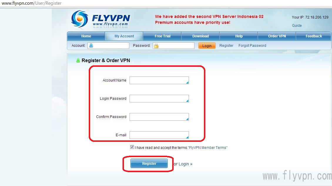 Free Trial VPN Service - Free VPN account and password | FlyVPN