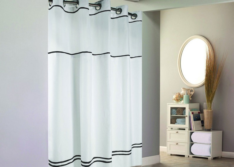 black and white striped shower curtain guide