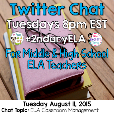 "Join secondary English Language Arts teachers Tuesday evenings at 8 pm EST on Twitter.    Brynn Allison, The Literary Maven & Kristy, 2 Peas and a Dog are hosting #2ndaryELA on Twitter every Tuesday evening from 8 - 9 PM EST.  #2ndaryELA is a weekly chat for secondary English Language Arts teachers focused on a topic.  Every Sunday, we will post the topic and questions on our blogs to allow you to prepare for the upcoming Tuesday evening's chat. Thank you to everyone who joined us last week and we hope that you will join us again.   Join secondary English Language Arts teachers Tuesday evenings at 8 pm EST on Twitter.   On Tuesday, August 4, our #2ndaryELA chat will focus on ELA classroom organization.  The Format: 8:00 Intros – What and where do you teach? Include a link to your blog if you have one. #2ndaryELA 8:05 Q1: How do you keep your desk organized? #2ndaryELA  8:15 Q2: Where/how do you keep student supplies? #2ndaryELA 8:25 Q3: How do you manage your paperwork (grading, work to be returned, etc.)? #2ndaryELA 8:35 Q4: How do you manage student work (writing folders, portfolios, etc.)? #2ndaryELA 8:45 Q5: How do you keep books organized (textbooks, novel sets, classroom library, etc) #2ndaryELA  The Directions: 1. Log into Twitter on Tuesday from 8-9 PM EST. 2. Search for tweets with the hashtag #2ndaryELA in the search bar.  Make sure to click ""All tweets."" 3. Introductions are for the first 5 minutes. 4. Starting at 8:05 (@literarymaven or @2peasandadog) will post questions every 10 minutes using the format Q1, Q2, Q3, etc. and the hashtag #2ndaryELA. 5.  Respond to questions using the format A1, A2, A3, etc. with #2ndaryELA. 6.  Follow any teachers responding and who are also using #2ndaryELA. 7.  Like and respond to other teachers' tweets.  You can schedule your responses to the questions ahead of time using a scheduler like TweetDeck or HootSuite (but don't forget to use A1, A2, etc. and #2ndaryELA). Links are encouraged, so be sure to use a link shortener like tinyurl, bitly, goo.gl or ow.ly  Just visit one of those links and paste your long link to shorten it for Twitter. Using images is also encouraged when relevant.  New to chats? Here are the rules: 1. Stay on topic & stay positive! 2. Please do not post or promote paid products unless specifically asked.  3. If you arrive late, try to look through other posts before beginning. 4. Feel free to just read, like, and/or retweet. 5. Always use our hashtag #2ndaryELA, including in your replies to others. 6. Make sure your twitter feed is set to public. (Also keep in mind that Twitter is completely public – that means students, parents, and administrators can and will read what you tweet.)   Be sure to spread the word to any teacher friends who might be interested in joining us as well. We look forward to chatting with you Tuesday evening!"