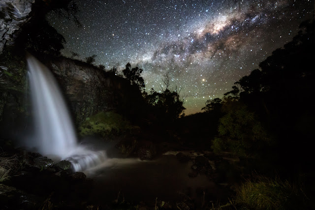 The Milky Way Galaxy over Paddys River Falls