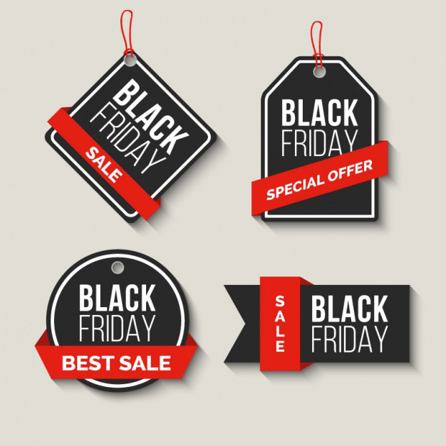 Pack of black friday sale labels with red ribbons Free Vector