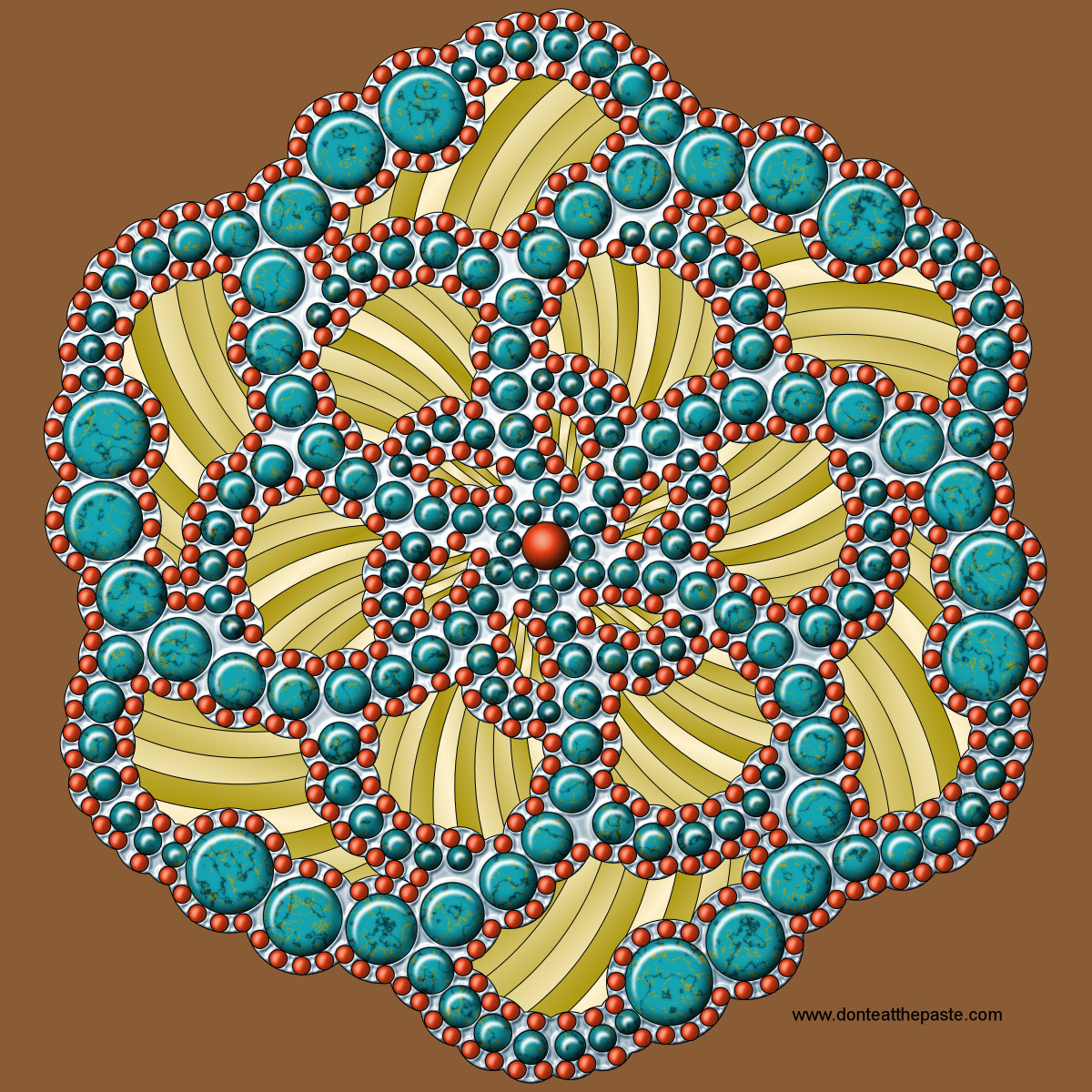 Dots mandala- turquoise and coral effect