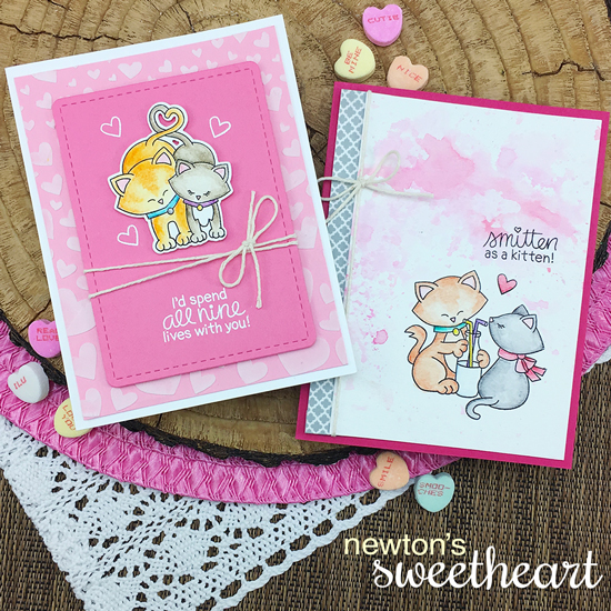 Kitty Valentine Cards by Jennifer Jackson | Newton's Sweetheart Stamp Set by Newton's Nook Designs #newtonsnook #handmade