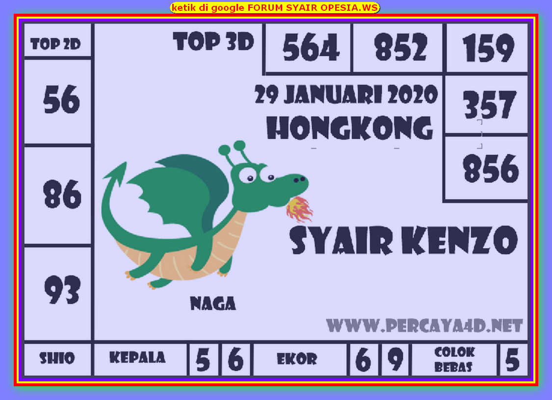 Kode syair Hongkong Rabu 29 Januari 2020 119