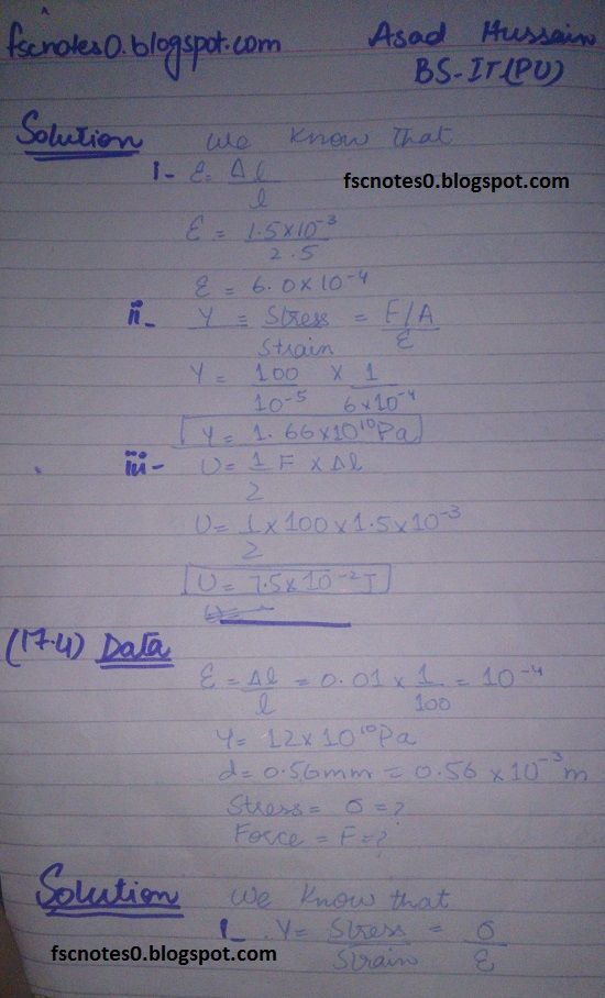 F.Sc ICS Notes: Physics XII: Chapter 17 Physics of Solids Numerical Problems by Asad Hussain 2