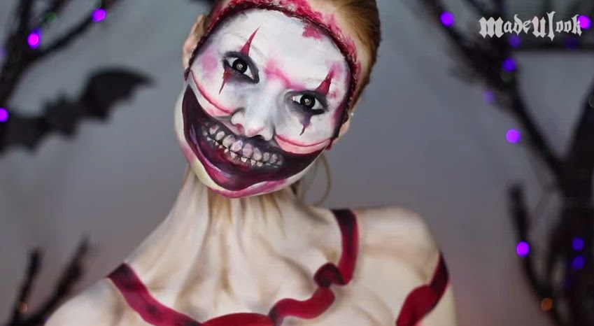 come truccarsi ad halloween, halloween make up tutorial video, halloween clown make up, madeyewlook
