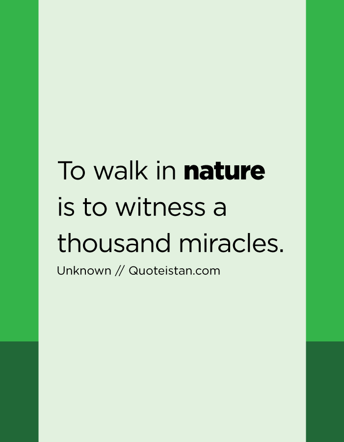 To walk in nature is to witness a thousand miracles.