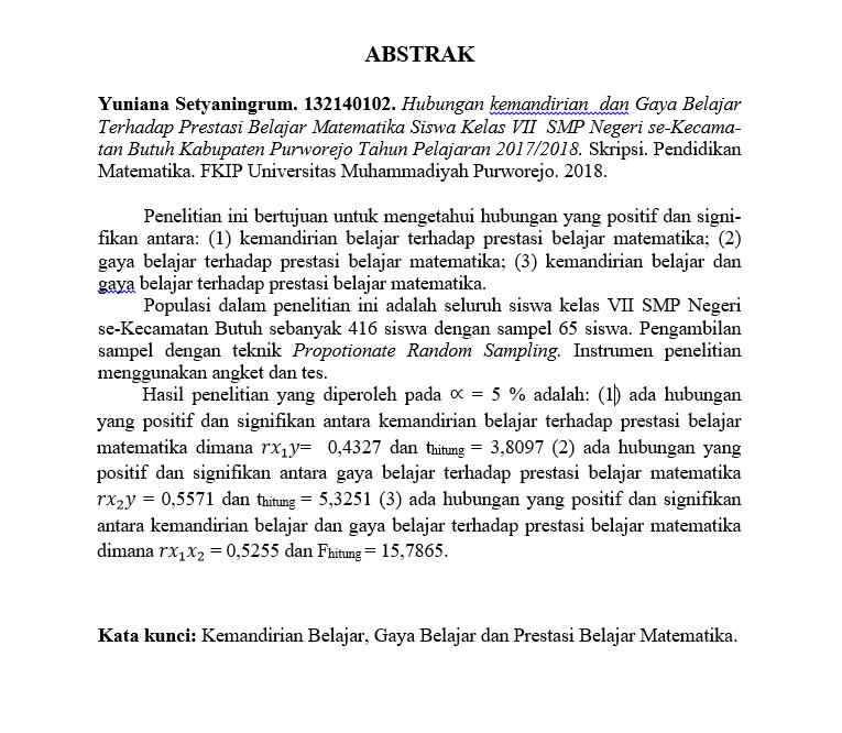 Contoh Skripsi Prodi Pendidikan Matematika Halaman Abstrak Buku