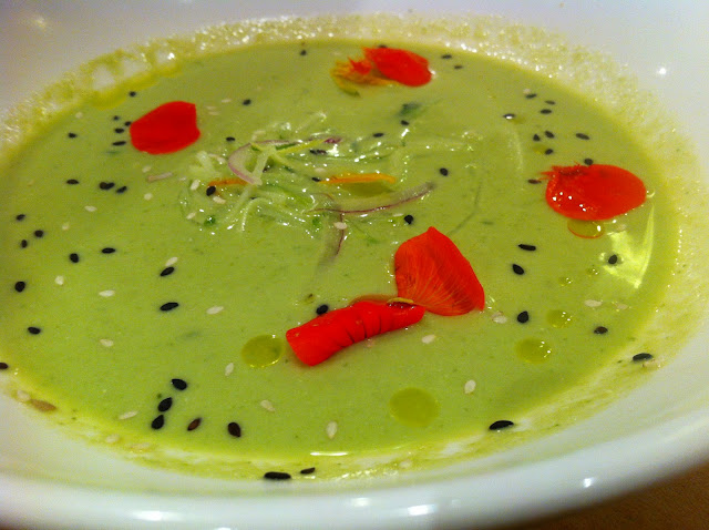 Chilled Asparagus Soup with Jalapeno, Cucumber, and Sesame