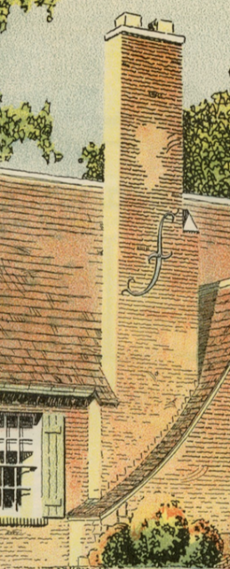 closeup of brick chimney on Sears Mansfield model