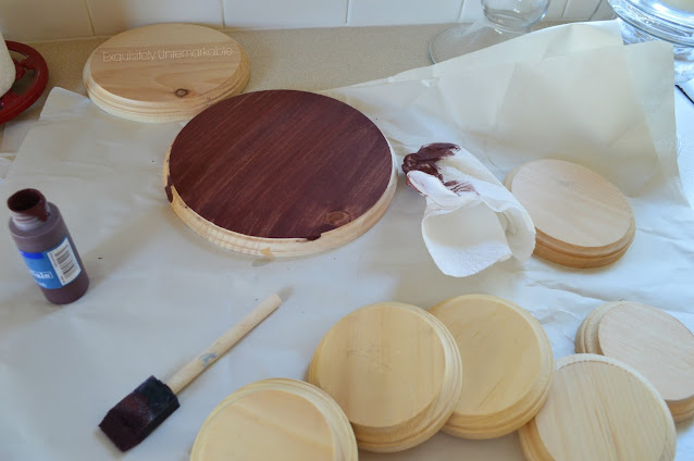 Painting Wooden Craft Rounds With Brown Paint