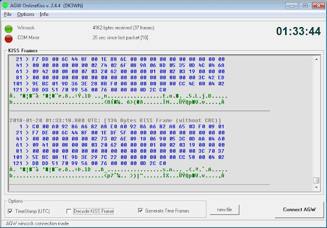 PicSat 1200 BPSK Telemetry 01:27 UTC  37 Frames decoded