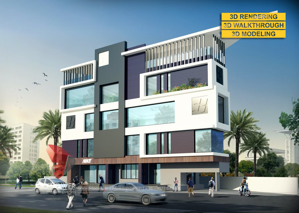 3d animation 3d rendering 3d walkthrough 3d interior for Commercial building elevation photos