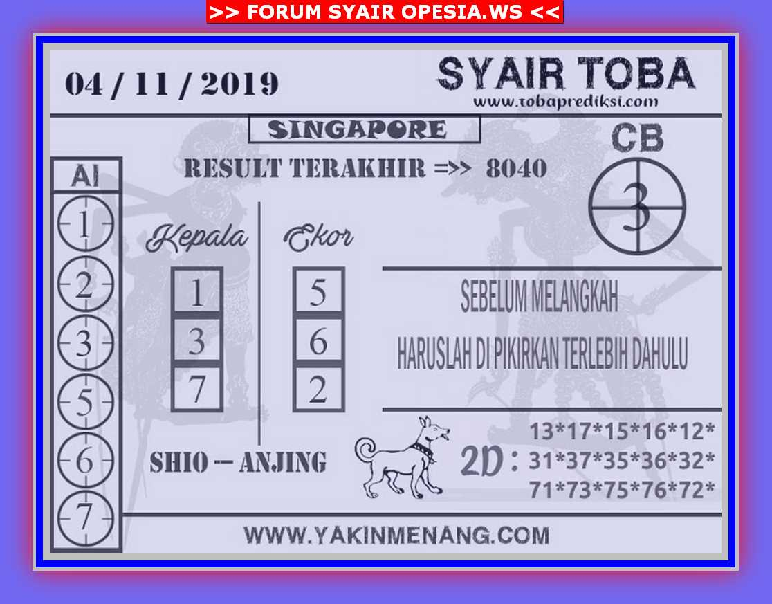 Kode syair Singapore Senin 4 November 2019 146
