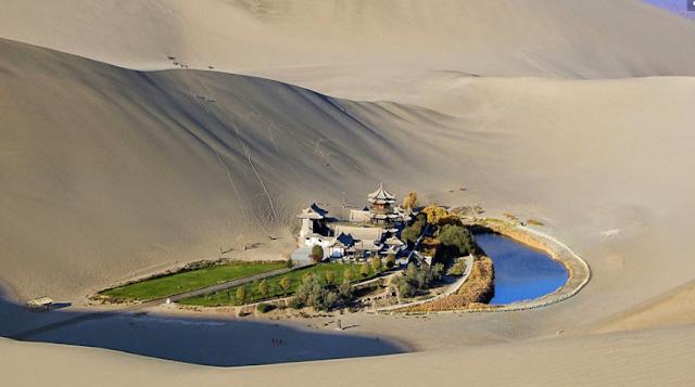 Desert garden of semilunar Crescent, China