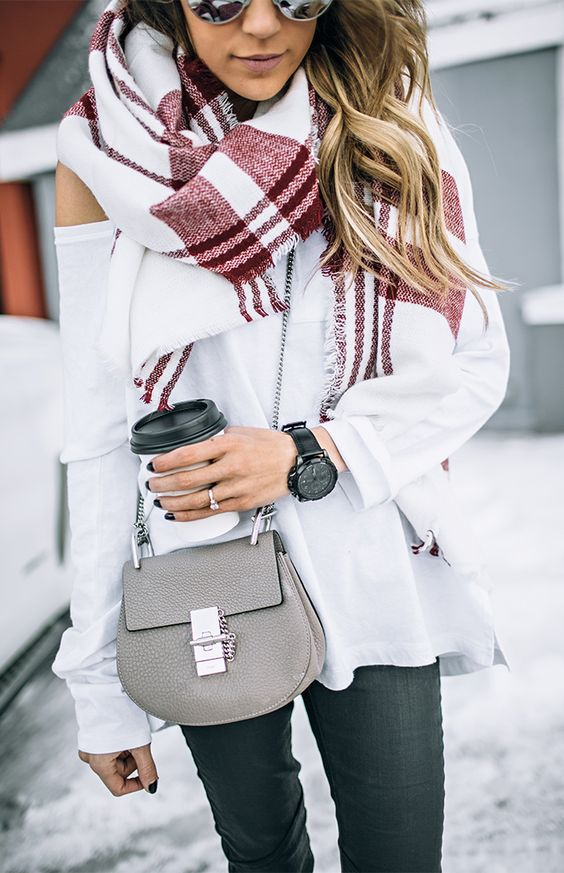 amazing fall outfit / plaid scarf + white one shoulder sweater + crossbody bag + jeans
