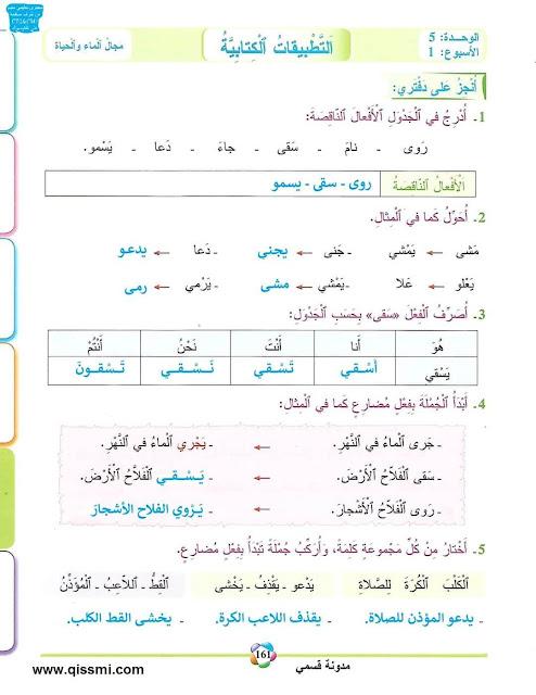 تصحيح التطبيقات الكتابية المستوى الثالث الأسبوع الأول الوحدة الخامسة