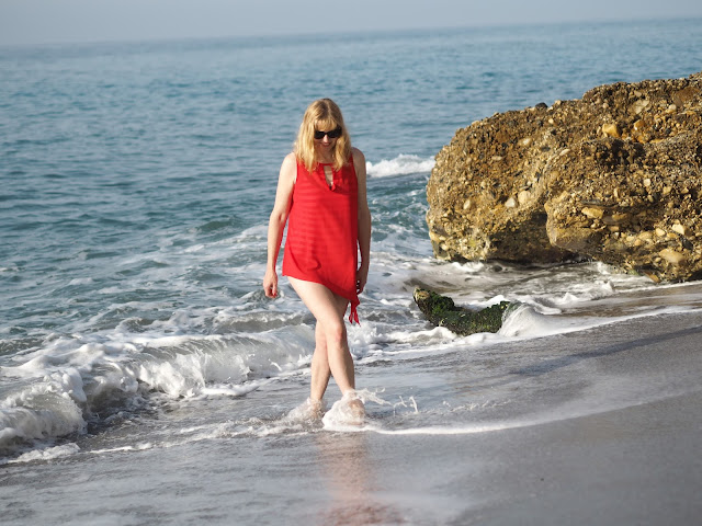 Red chiffon beach cover-up and red striped nautical swimsuit
