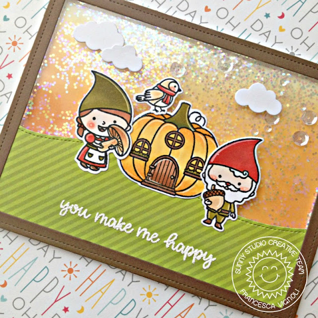 Sunny Studio Stamps: Comic Strip Everyday Die Home Sweet Gnome Woodland Borders Shaker Card by Franci Vignoli