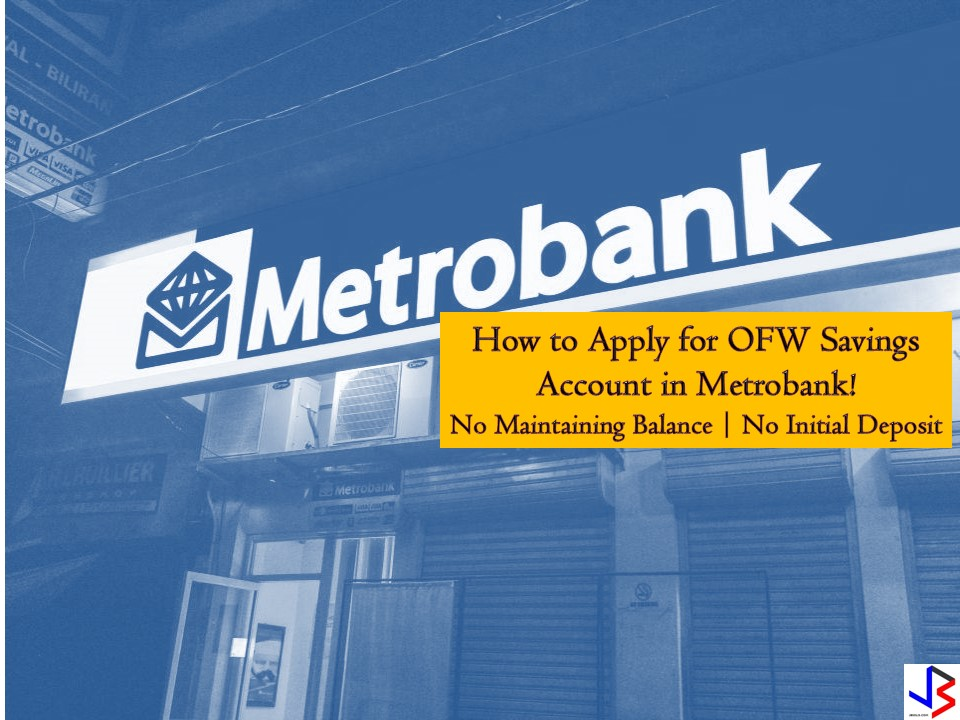 Every Overseas Filipino Workers (OFWs) should save money for emergencies, retirement or for starting a new investment or small business for families to have a stable income at home. Saving money in the bank is very important to protect your money from thieves and from unwanted expenses. Aside from this, your money in the bank will grow with interest as the time goes by. We all know that working abroad is not forever and saving for the future is a must.   If you are looking for a bank that will value your money, consider Metrobank's basic savings account that will ensure your money in an accessible way plus it will earn interest. You can track your balance through passbook and your foreign currency remittance is converted into Philippine pesos. No more hassle for your family to change money into local currency.  OFW PESO Savings Account  OFWs may choose what kind of deposit — passbook or ATM. Both can be applied with zero initial deposit as well as zero maintaining balance, provided there is at least one valid remittance transaction made to the account within a 12-month period. Balance to Earn Interest — P10,000 Interest Rate — 0.25% per annum  OFW Savings Dollar Account This is passbook savings account with zero initial deposit and zero maintaining balance — provided that there is at least one valid remittance transaction made to the account within 12 month period. Your dollar account needs to have $500.00 to earn interest of 0.125% per annum. How to Open an OFW Savings Account in Metrobank? Just visit the nearest Metrobank branches in your area and present a one valid government ID! Metrobank's ATM can be accessed anytime and anywhere in the Philippines via BANCNET ATMs, or abroad via MAESTRO-CIRRUS ATMs. You can also manage your transaction through online banking or MetrobankDireck such as balance inquiry and bills payment.