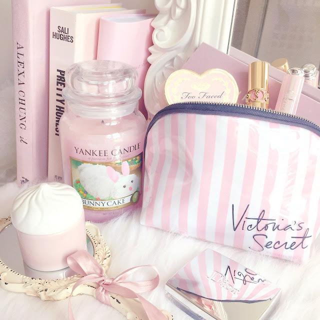 Yankee Candle Bunny Cake & Pink Victoria's Secret Makeup Bag
