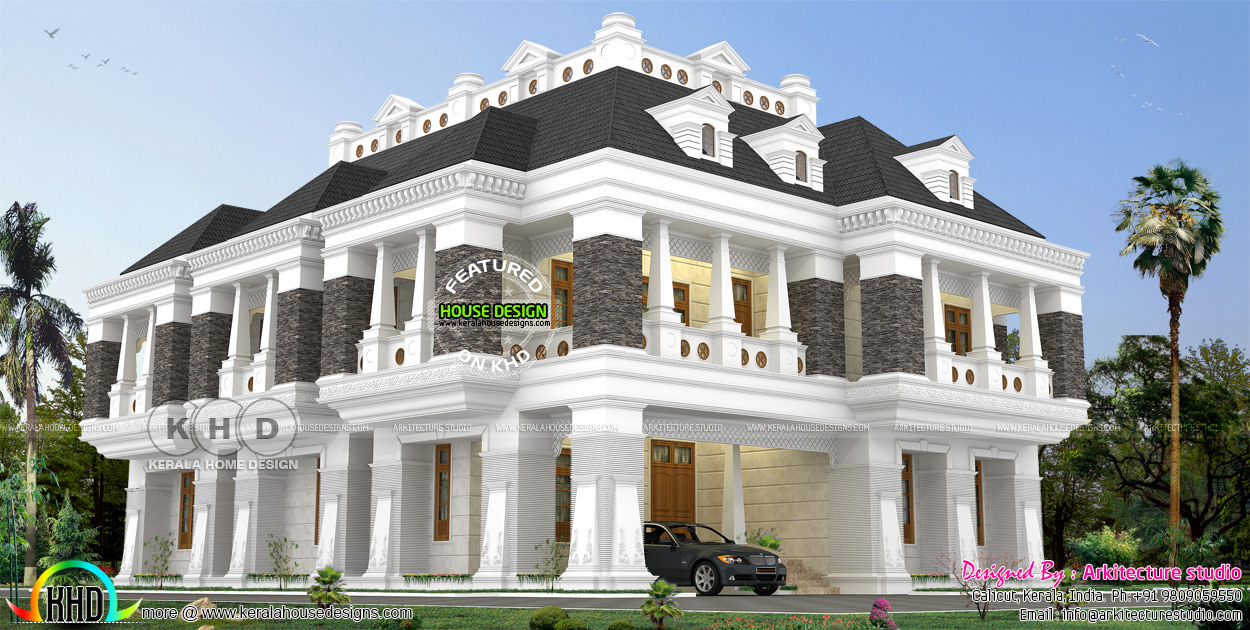 7 bedroom attached luxury colonial home kerala home for Colonial style home design in kerala