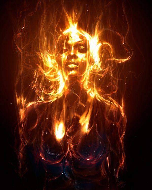 Mujer en fuego arte digital