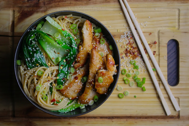 Sesame Noodles with Golden Chicken and Pak Choi
