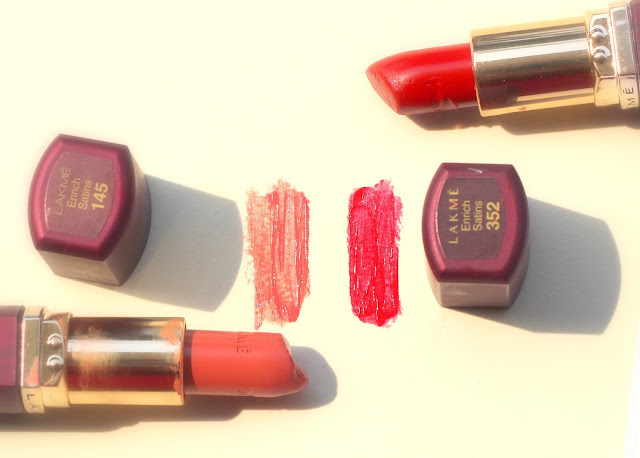 Lakme Enrich Satin Lipsticks - 352 and 145 (Old Packaging)