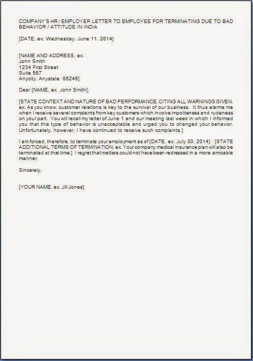 employee termination letter format sample