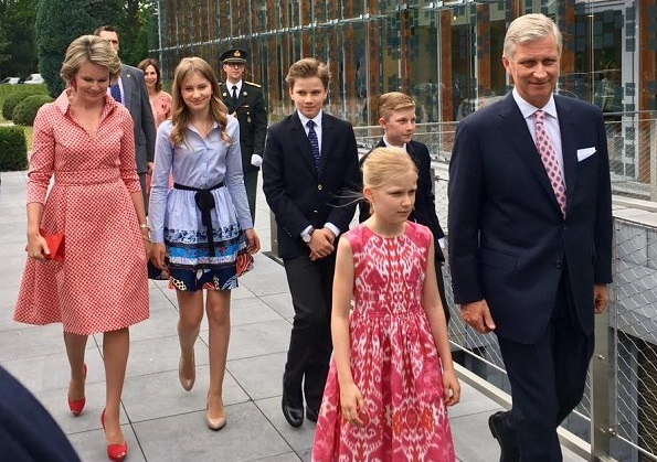 Queen Mathilde, Crown Princess Elisabeth, Prince Gabriel, Princess Eleonore, Prince Emmanuel