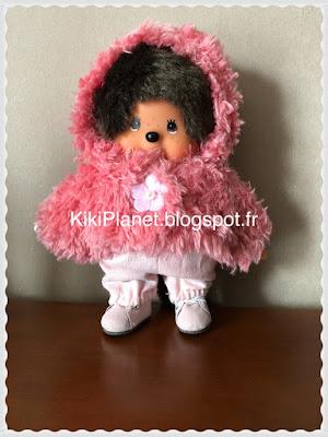 Veste en fourrure rose faite main pour Kiki ou Monchhichi, vêtements poupée, handmade, couture, jouet vintage