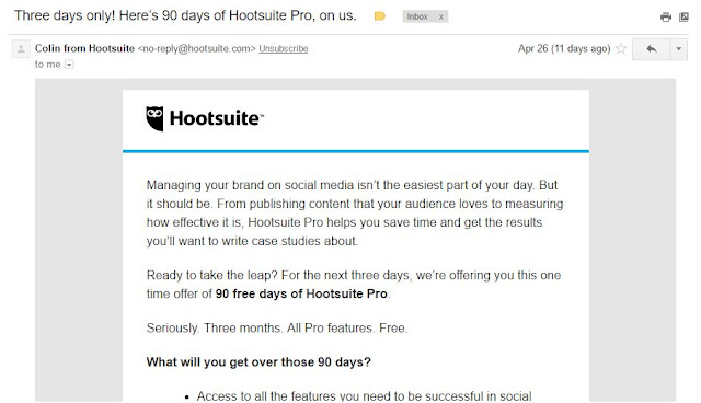 HootSuite Pro invitation for 90 days of Free Hootsuite Pro