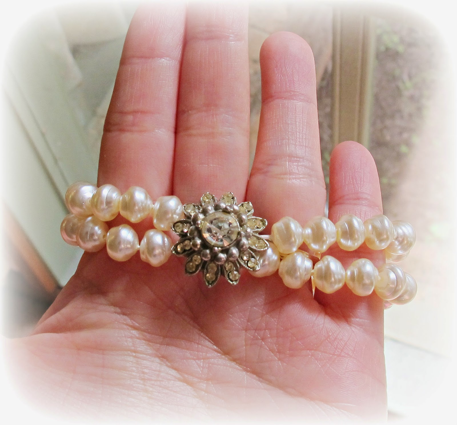 image wedding bracelet pearls baroque cream vintage rhinestone button stretch bracelet two cheeky monkeys