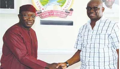 Photo: Ayo Fayose Congratulates His Predecessor, Fayemi On His Ministerial Appointment