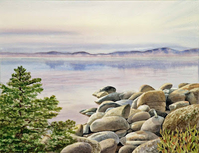 Lake Tahoe landscape watercolour artwork