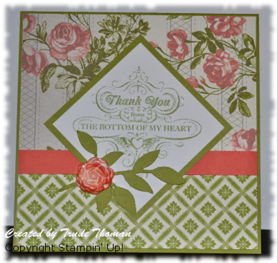 Stamp with Trude, Stampin' Up!, Mojo Monday, From My Heart, Thank You card