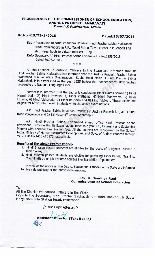 Permissionto conduct Andhra  Pradesh Hindi  Prachar sabha Hyderabad Hindi Examinations in A.P., Model School/Govt schools, Z.P.Schoolsand etc., Nagaribodh to Vidwan Request ,Rc.415