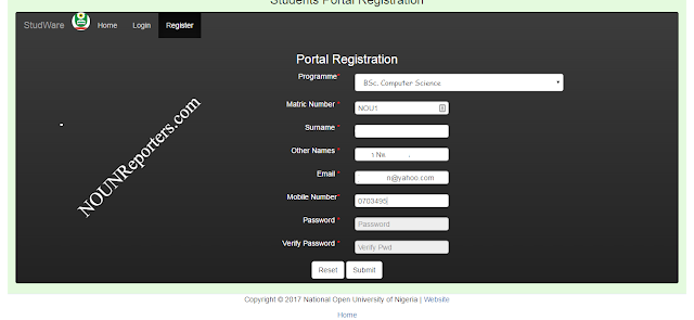 Noun student Portal registration area