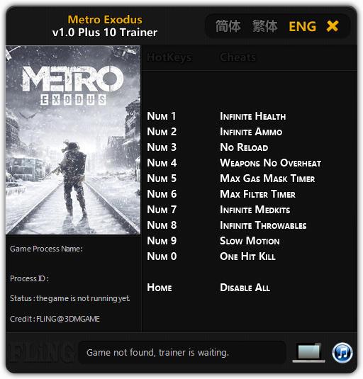 Metro Exodus (PC) Sekmeme,Can +10 Trainer Hilesi İndir 2019