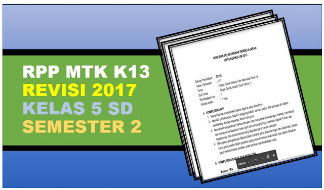 RPP Matematika K13 Revisi 2017 Kelas 5 Semester 2