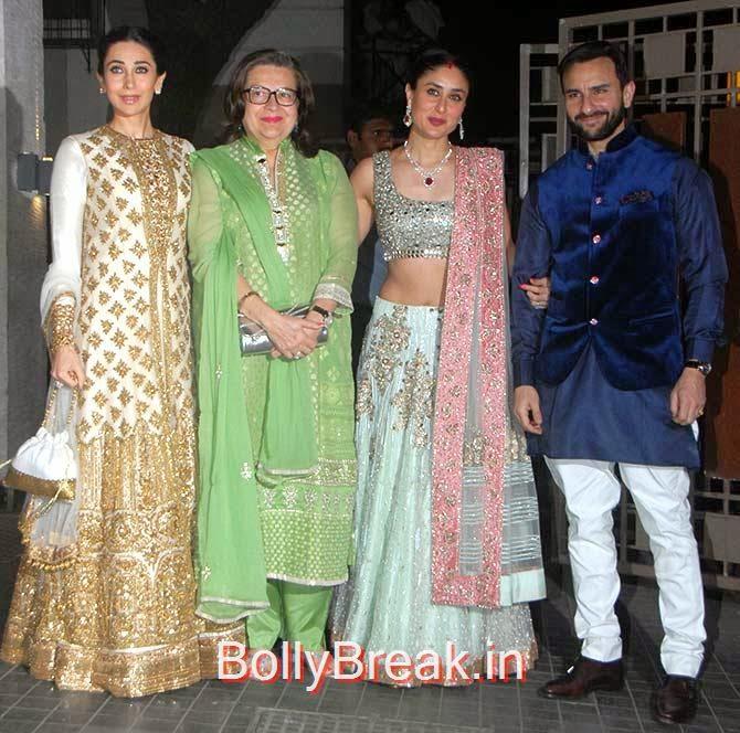 Karisma Kapoor and mother Babita , Sister Kareena Kapoor, Soha Ali Khan Kunal Khemu wedding receptionPhoto gallery album