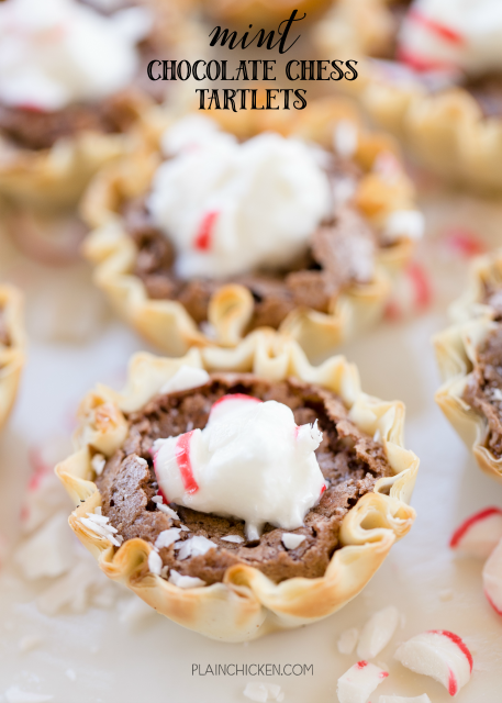 Mint Chocolate Chess Tartlets - tastes like Christmas! SO easy and makes a ton. GREAT for parties! Can make ahead of time and store in airtight container. Sugar, cocoa powder, cornmeal, flour, vinegar, butter, eggs, mint, mini phyllo tarts. Top the tarts with whipped cream and crushed mints. Everyone RAVED about how great these were. YUM!