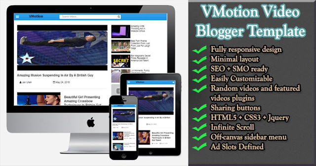 VMotion Responsive Video Blogger Template