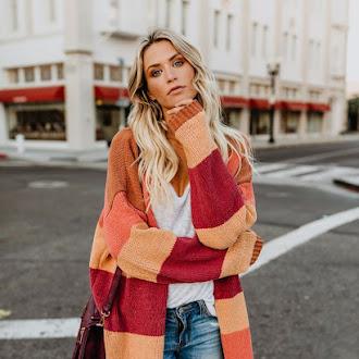 Women loose striped rainbow sweater