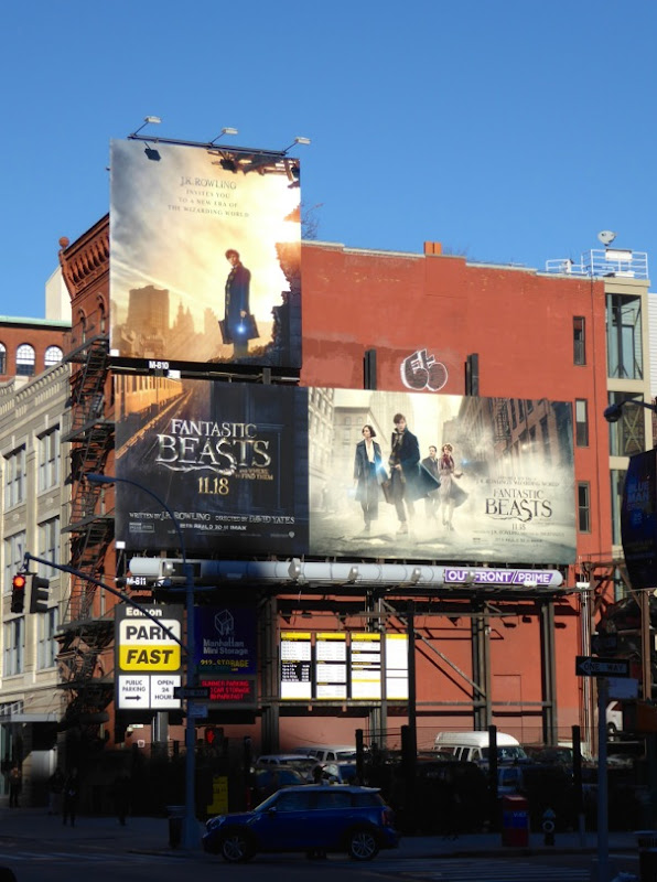 Fantastic Beasts movie billboards NYC